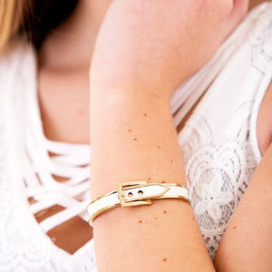 Jewelry - Belt Design Bangle Bracelet, White